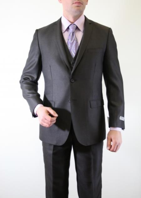 Mens Two Button Three Piece Vested Shadow Stripe ~ Pinstripe tone on tone Italian Slim Fitted Skinny Herringbone Tweed Suit with sheen Dark Brown