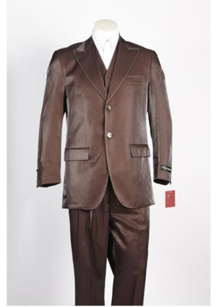 Mens Single Breasted 2 Button Brown Suit