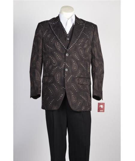 Men's Vested 2 Button Brown Paisley Blazer With Studded Trim, and black dress pants