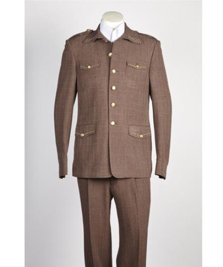 Men's diamond nail heads 2 Button Safari Military Style Suit Brown ~ Taupe ~ Coffee