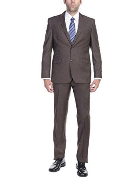 Mens Brown Slim Fitted Two-Piece Cheap Priced Business Suits