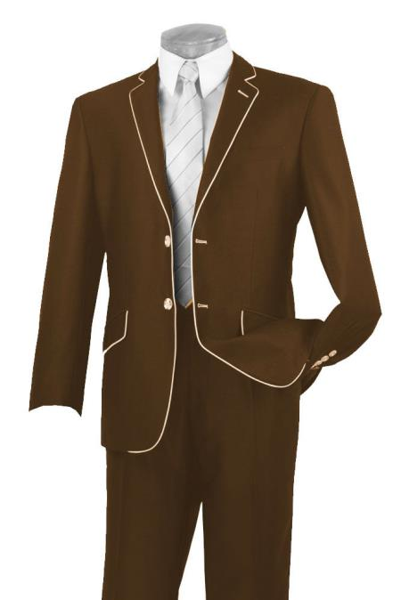 Buy AC-352 Mens Two Button Two Toned Suit White Lapeled Tuxedo Brown 7 days delivery