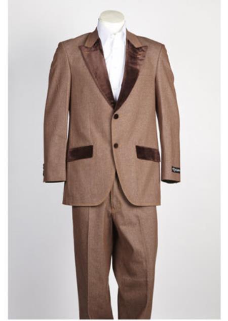 Men's 2 Button  Velvet Suit Denim Tuxedo Jean Brown