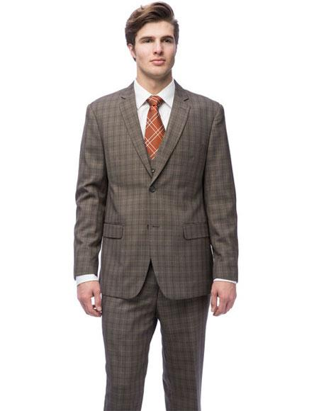 Caravelli Mens Single Breasted 2 Button Brown Windowpane Vested Slim Fit Suit