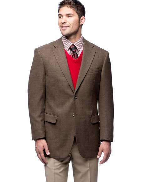 Buy SM1746 Men's 2 Button Wool Notch Lapel Brown Single Breasted Blazer