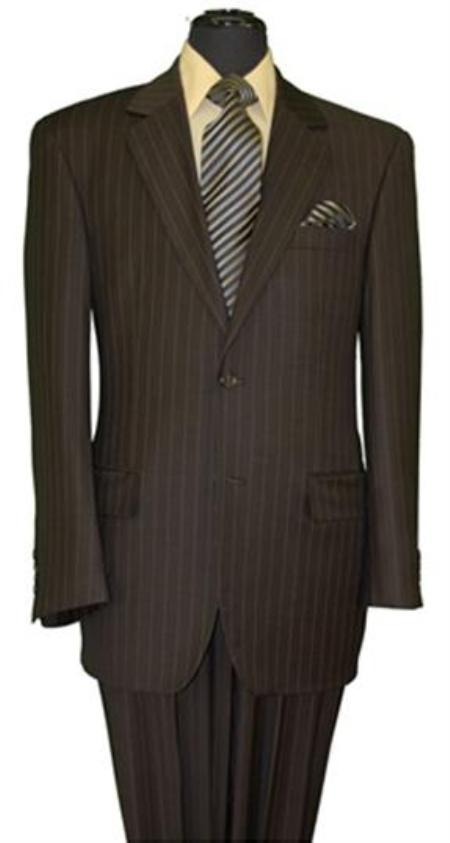 SKU#MU060 Mens Two Button Style Brown Pinstripe Super 140s Wool Feel Poly~RayonSuit (Jacket&Pants)
