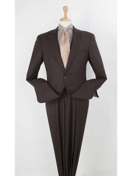Men's 100% Real Wool Dark Brown 2 Button  Pleated Wide Leg Pants Online Discounted Suit