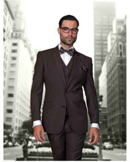 Statement Confidence Mens Brown 2 Button Modern Fit Wool Fine Brands Best Italian Style Cut Suits