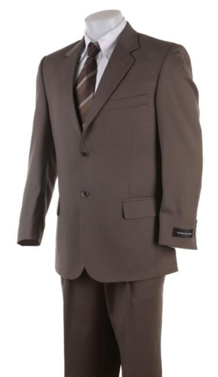 SKU# 472 Mens 2 Button English Brown Super Wool Business Business ~ Wedding 2 piece Side Vented Suit