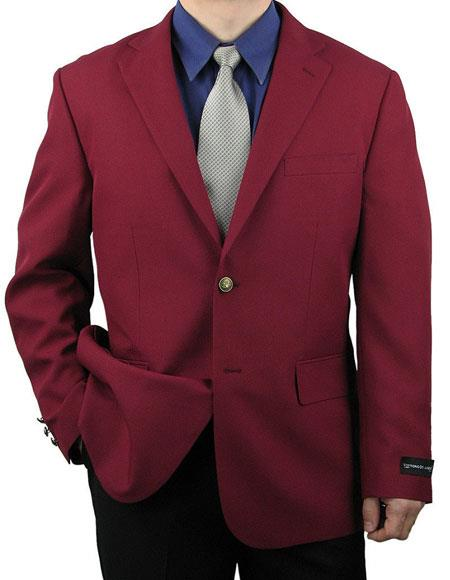 Mens Cheap Priced Designer Fashion Dress Casual Blazer For Men On Sale Burgundy ~ Wine ~ Maroon Color Classic 2 Button Blazer