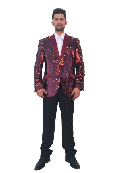 Mens Shiny 2 Button Burgundy ~ Wine ~ Maroon Color Single Breasted Blazer