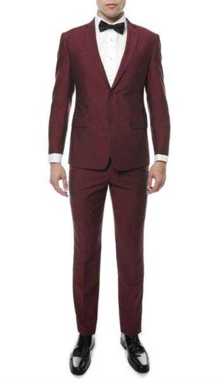 Buy SM812 Men's Two Button Classic Notch Lapel Burgundy Single Breasted Slim Fit Suit
