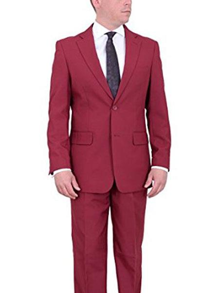 Wine Red ~ Maroon Two Button Solid Flat Front Pants Pants  Suit
