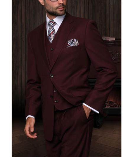 280a10c6ded76c Statement Confidence Mens Burgundy ~ Wine ~ Maroon Color 3 Piece 2 Button  Italian Designer Fine Brands Best Italian Style Cut Suits