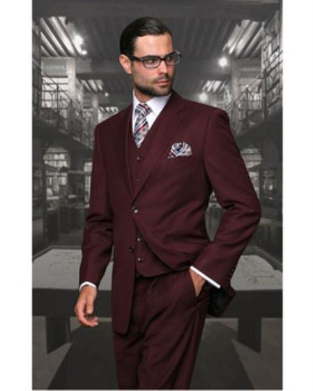 Statement Confidence Mens Burgundy ~ Wine ~ Maroon Color Wine 2 Button Modern Fit Wool Fine Brands Best Italian Style Cut Suits