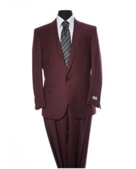 Mens Burgundy ~ Wine ~ Maroon Color 1 Button Peak Lapel Slim Fit 2 Piece Suit