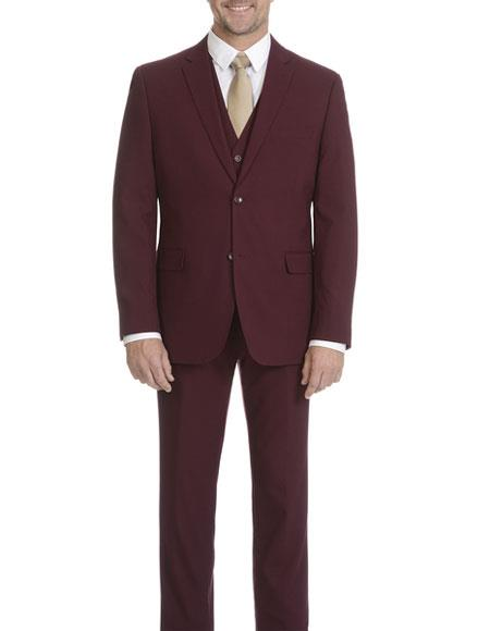 Caravelli Mens Single Breasted Burgundy ~ Wine ~  Slim Fit 2 Button Vested Maroon Suit