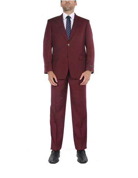 Mens Classic Fit Burgundy ~ Wine ~ Maroon Color 2 Button Single Breasted Two-Piece Side Vents Cheap Priced Business Suits Clearance Sale