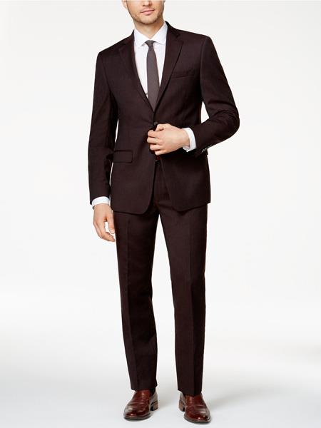 SKU#JS301 Mens Slim Fit Burgundy ~ Wine ~ Maroon Color ~ Maroon Tuxedo