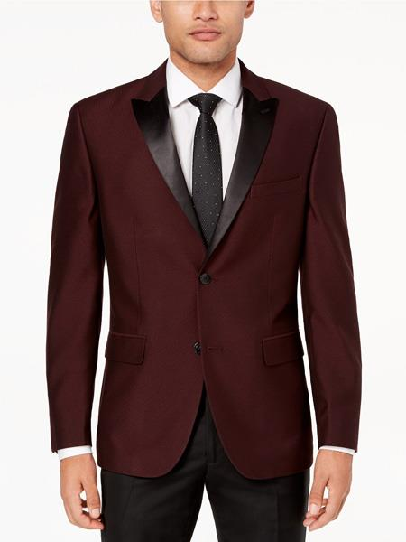 SKU#JS304 Mens Slim Fit Burgundy ~ Wine ~ Maroon Color ~ Maroon Tuxedo