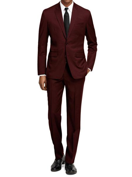 SKU#JS308 Mens Slim Fit Burgundy ~ Wine ~ Maroon Color ~ Maroon Tuxedo