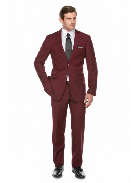 SKU#JS309 Mens Slim Fit Burgundy ~ Wine ~ Maroon Color ~ Maroon Tuxedo