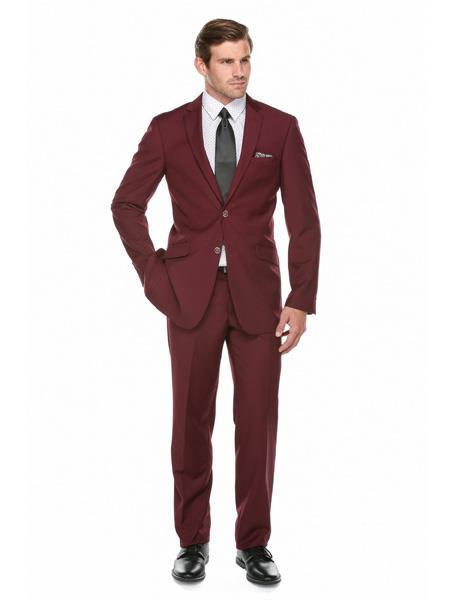 Wine ~ Maroon Color ~ Burgundy ~ Maroon Mens Slim Fit Suit