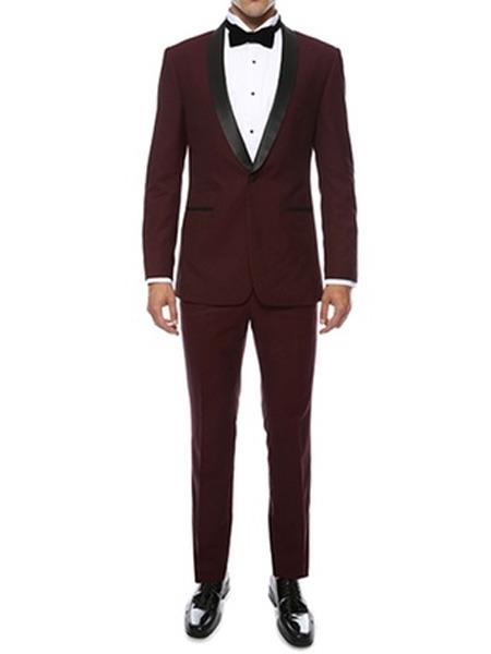 SKU#JS310 Mens Slim Fit Burgundy ~ Wine ~ Maroon Color ~ Maroon Tuxedo