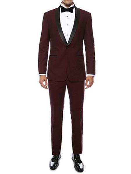 Buy JS310 Mens Slim Fit Burgundy ~ Wine ~ Maroon Color ~ Maroon Tuxedo