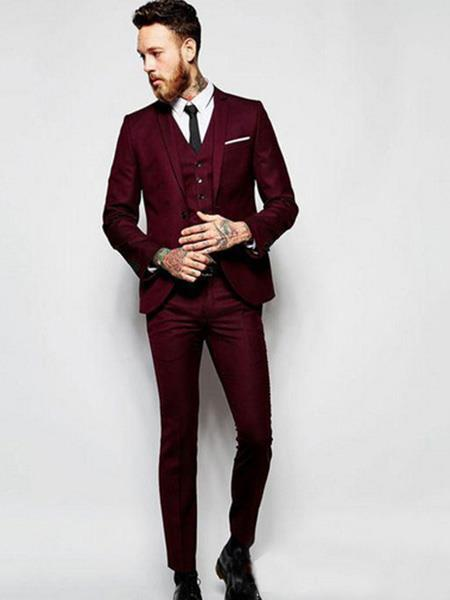 SKU#JS311 Mens Slim Fit Burgundy ~ Wine ~ Maroon Color ~ Maroon Tuxedo