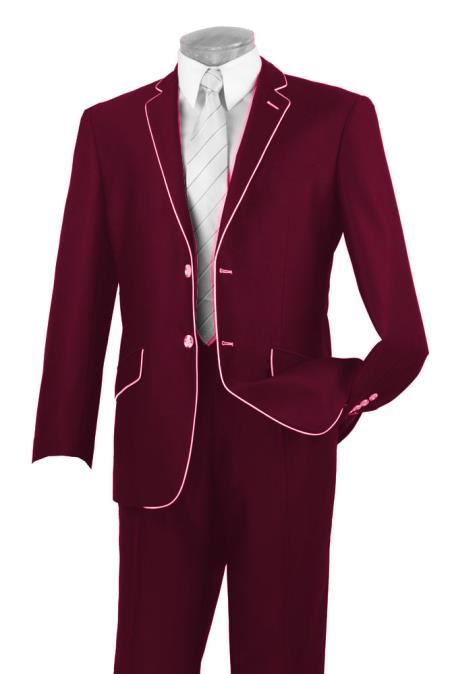 60s -70s  Men's Costumes : Hippie, Disco, Beatles Mens Two Button Two Toned Suit White Lapeled Tuxedo Burgundy 7 days delivery $190.00 AT vintagedancer.com