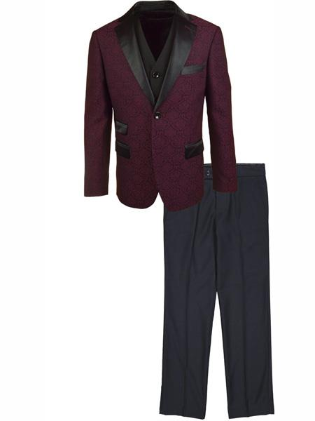 Men's 2 Button One Chest pocket 3 Piece Suit Burgundy