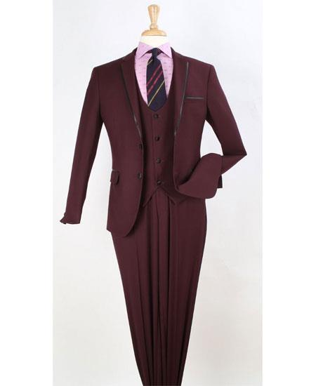 Mens Two Toned And Fashion Trim Lapel Burgundy Wedding / Prom / Homecoming Tuxedo Vested 3 Pieces