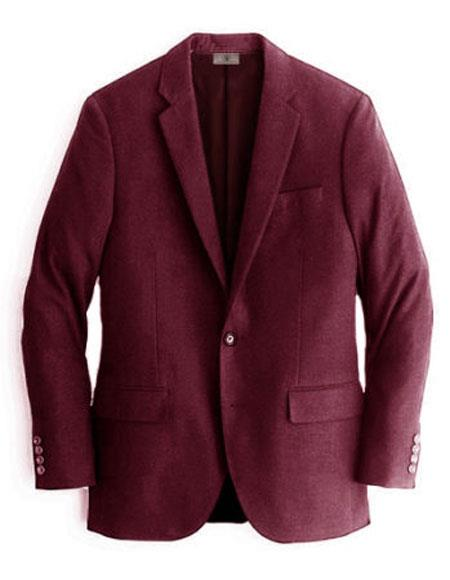 Men's Burgundy Two Buttons Cashmere & Wool Blazer