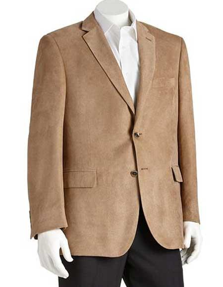 Microsuede Mens Polyester Notch Lapel 2 Button Double Vent Classic Fit Camel Blazer