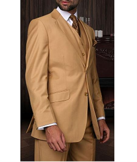 Statement Confidence Mens Camel 3 Piece 2 Button Italian Designer Fine Brands Best Italian Style Cut Suits
