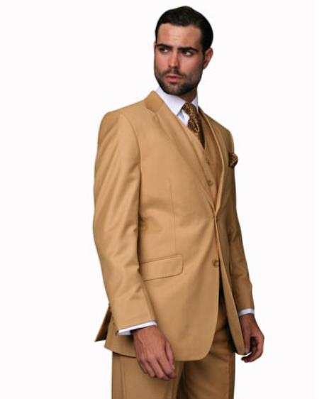 Mens Camel 2 Button 100% Wool Vested 3 Piece Fine Brands Best Italian Style Cut Suits Pleated Pants