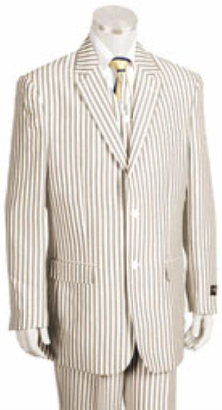 Mens 2 Button Jacket Pleated Pants Pronounce Pinstripe seersucker ~ sear sucker suits