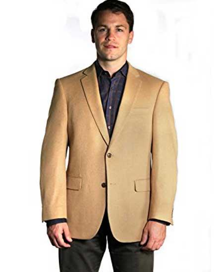 Mens 2 Button Notch Lapel  Camels Hair Vent Sport coat  Sport coat Online Discount Fashion Sale