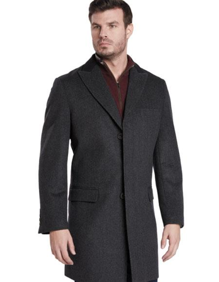 Mens Dress Coat Single Breasted 2 Button Charcoal Peak Lapel Car coat ~ Carcoat