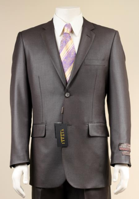 Mens 2 Button patterned Mini Weave Patterned Shiny Sharkskin Charcoal Suit