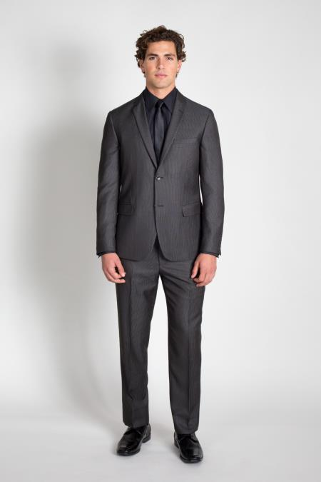 Mens 2 Button Charcoal Groomsmen ~ Groom Wedding Pinstripe Slim Fitted Cheap Priced Business Suits Clearance Sale