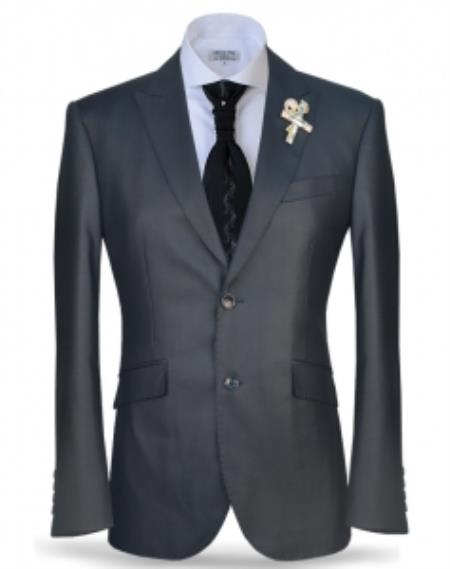 Fashion Unique Brand Men's Charcoal Two Button Peak Lapel Suit Fashion Suit (Jacket + Pants)