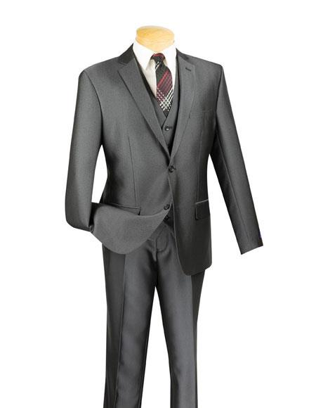 Mens Two Buttons Single Breasted Notch Lapel 3 Piece Executive Charcoal Slim Fit Suit