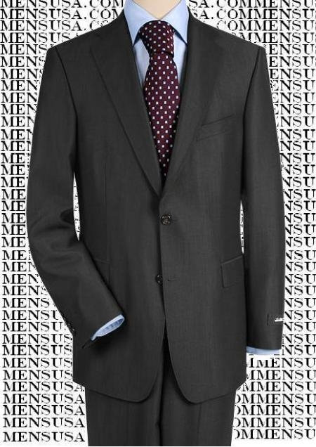 SKU# 2BW9 High-quality construction Two-Button Darkest Charcoal Gray Super 150 fine Wool