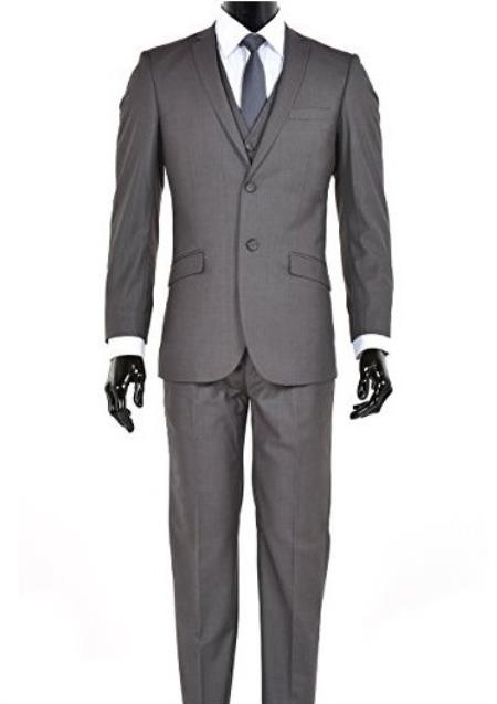 Mens Charcoal 2 Button Notch Lapel Slim Fit Suit - Color: Dark Grey Suit