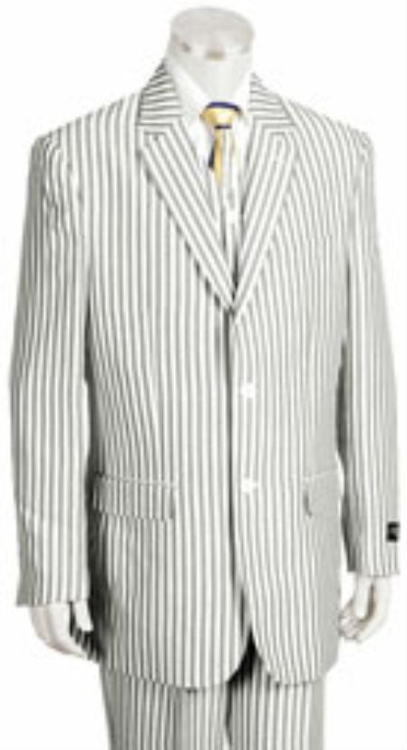2 Button Jacket Pleated Pants Pronounce Pinstripe seersucker ~ sear sucker ~ sear sucker ~ sear sucker suits for men
