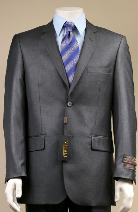 Two Button Suit New Edition Shiny Sharkskin Charcoal Grey