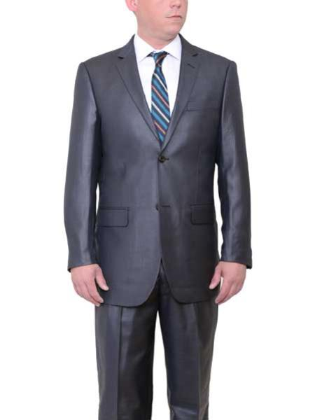 Buy SM1809 Men's Big & Tall 2 Button Classic Fit Side Vents Sharkskin Charcoal Gray Suit
