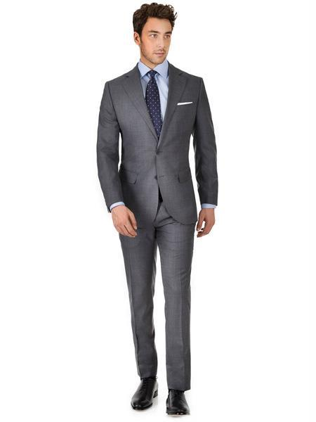 Men's 2 Button 100% Super 150s Wool Charcoal Gray Suit